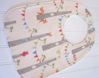 CLEARANCE/SWEET NATURALS/Organic Line/Toddler Bib/12--24 mo./Woodland Party(Organic)/Organic Fleece Back