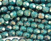 Persian Turquoise - Bronze Picasso Czech Glass Firepolished 6mm Beads -25