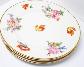 Floral Warwick China - Vintage SET of 4 Bread & Butter or Small Dessert Plates - Cottage Chic - Bridal Gift