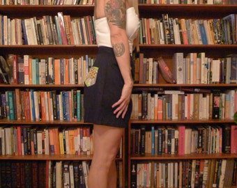 SHORT SHORTS--Adorable 1940s Reproduction Shorts in Navy Blue Cotton with Adorable Pocket Detailing--S