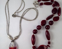 BOGO Sale Maroon and Silver Beaded Necklace and  Gray Two Strand Beaded Necklace with Dark Pink and Silver Pendant, Two for the Price of One