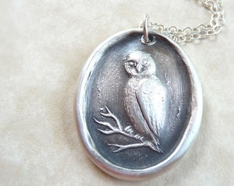 Owl wax seal necklace made from recycled fine silver for Valentine's day