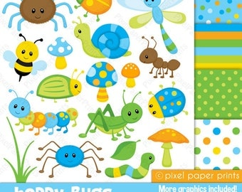 Happy Bugs - Clipart and Digital Paper Set