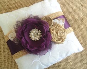 Ring Bearer Pillow, Plum Purple Ring Pillow, Wedding Accessory, Rustic Ring Pillow, YOUR CHOICE COLOR,Wedding Pillow, Burlap,Woodland Pillow