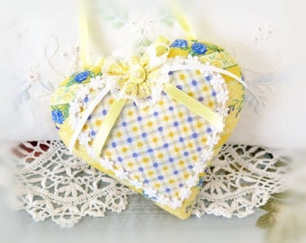 Heart Sachet 5 inch Sachet Heart, Yellow White French Lavender Blue, , Lavender Buds, Folk Art, Handmade CharlotteStyle Decorative Folk Art