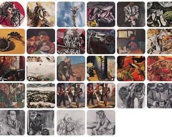 Renato Guttuso. Set of 28 Vintage Postcards (2 complete sets with original covers 16/12) -- 1962, 1979