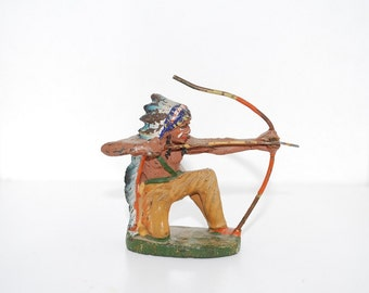 Vintage Elastolin Indian with Bow and Arrow Figure - Composite Composition Hand Painted Toy Figure - 1940's Germany - Native American Figure