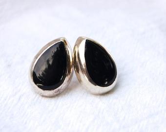 Black Teardrop Earrings Vintage Mexican Sterling Silver Tear Drop Posts Studs Modernist Everyday Jewelry