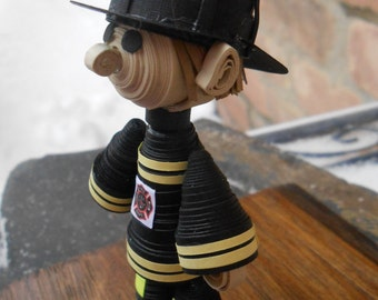 Quilled FIREMAN Guy. Paper Decoration. Firefighter Gift. Cake Topper. Unique Gift. CUSTOM Orders Welcome.