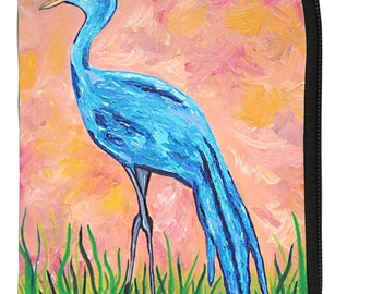 Blue Crane Change Purse by Salvador Kitti - From my Original Oil Painting, Paradise Crane