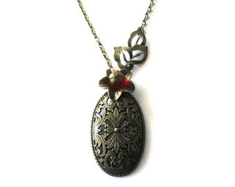 Red flower necklace jewelry, oval pendant necklace antique brass bronze, flower charm with leaf necklace