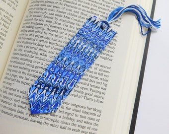 Blue Polymer Clay Bookmark with Quote, unique bookmark