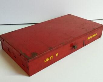 1960's Red Metal Industrial Box Storage Box Organization