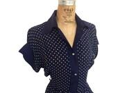 RESERVED // Vintage 1950s Star Blast Polka Dot Dress - Tafeta Sleeves & Pearl Buttons - Rae Mar Label