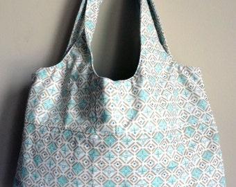 Small Tote Bag - Small Beach Bag - Fabric Tote Bag - Upcycled Bag - Printed Tote - Fashion Bag - Patterned Bag - Blue Tote Bag