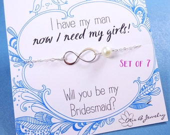 Set of 7: Seven Infinity BRACELETS, Bridesmaid gifts, bridesmaid thank you cards, be my bridesmaid, bracelets for bridesmaids