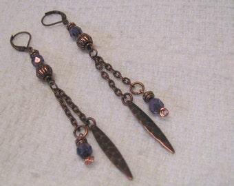 Antique Copper & Violet Czech Glass Beaded Dangle Pierced Earrings, Purple Beads, Hammered Copper. Shoulder Duster,  Long Boho Earrings