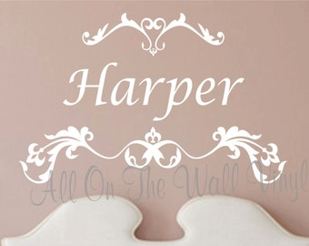 Name Wall Decal Scroll Design Wall Art Personalized Bedroom Decor Wall Stickers Vinyl Lettering Bedroom Decals Baby Girl Nursery Name Decal