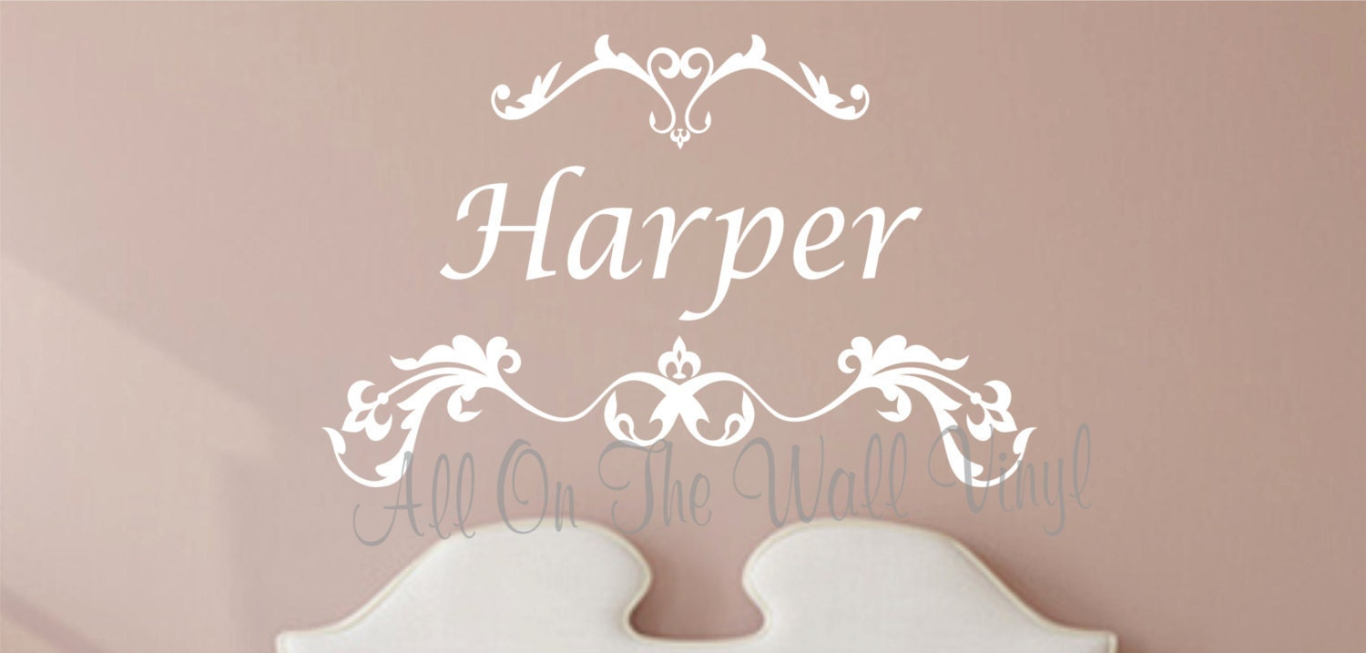 Scroll Design Wall Decor : Name wall decal scroll design art personalized bedroom