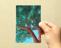 "Postcard ""Summer Maple"" fabric art postcard print, 4x6 inches, high gloss, professionally printed"