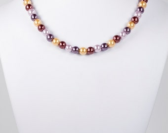 Pearl Necklace Chocolate Gold Lilac Eggplant with Heart Toggle Clasp Fall Fashion