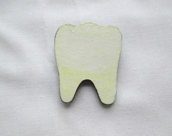 Large Hand Painted Human Molar Pinback Button Brooch