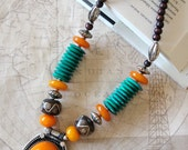 Yellow Cabochon, Silver and Turquoise Beaded Tibetan Necklace