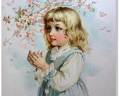 Antique/Print/Chidren/Vintage/Lithograph/Wall Art/Victorian/Maud Humphery In The Orchard from Babes of The Year  Frederick A. Stokes 1888