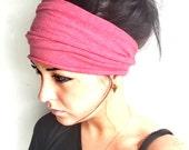 FREE SHIPPING- Coral Scrunch Headband, Extra Wide Headband, Jersey Headband, Extra Wide Jersey Headband, (women, teen girls)