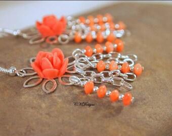 SALE Rose Bud Silver Earrings, Coral Rose Earrings, Beaded Chandelier Pierced or Clip-on Earrings. OOAK Handmade Earrings. CKDesigns.US