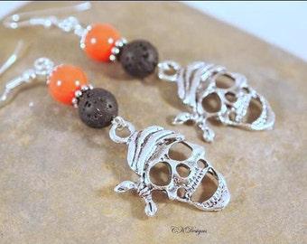 Pirate Earrings,  Black and Orange Earrings, Lava Rock Beaded Dangle Pierce Earrings. Day Of The Dead Earrings, CKDesings.us