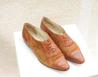 Vintage Nordstrom Two-Tone Brown Leather Pointy Toe Oxfords, Made in Italy, Womens 8 1/2 / ITEM137