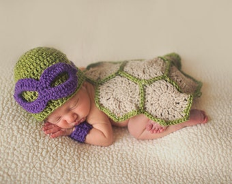 Halloween Outfit | Baby Ninja Turtle Costume for photo prop | Ninja Baby | USA MADE