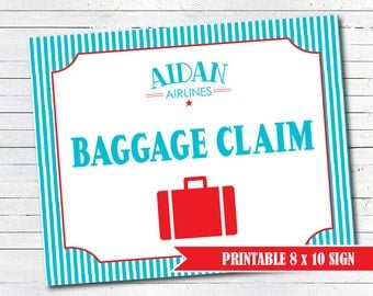 Airplane Party Baggage Claim Sign - Airplane Birthday Decorations - PERSONALIZED