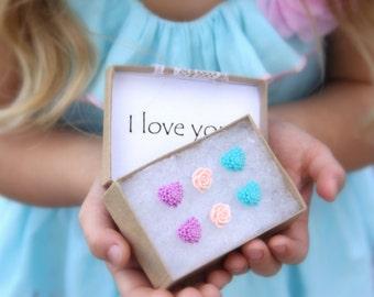 Heart Earrings, Flower Studs, Toddler Earrings, Little Girl Earrings, I Love You Gift, Gift Set, Gifts for Girls, Jewelry Gifts Under 20