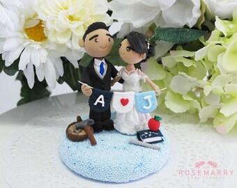 Custom Cake Topper- Builder & Teacher couple