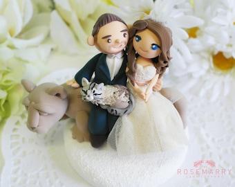 Custom Wedding Cake Topper- Penn State University Couple & cat