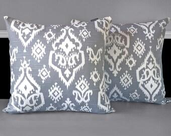 "Pair of Pillow Covers - Raji Grey 18"" x 18"", Ready to Ship"