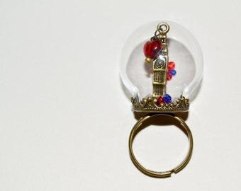 Big Ben Globe Ring, Adjustable Ring, Snow Globe Ring, Statement Ring, Glass Ball Ring, London Jewelry, Big Ben Jewelry, British Jewelry