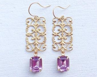 Purple Rhinestone Earrings/Light Amethyst Earrings/Art Deco Earrings/Filigree Earrings/Purple Swarovski Rhinestone Earrings/Lilac Earrings