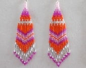 Native American Style Beaded Light Pink, Hot Pink Siver and Orange Earrings Southwestern, Boho, Peyote, Gypsy, Brick Stitch, Great Gift