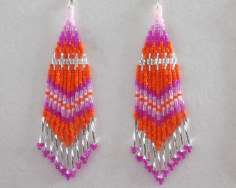 Native American Style Beaded Spring Light Pink Hot Pink Siver and Orange Earrings Southwestern Boho, Peyote, Gypsy, Brick Stitch, Great Gift