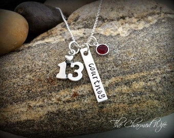 Bar/Bat Mitzvah  Personalized Necklace - Unique 13th Birthday Gift  Custom Birthstone Jewelry -Hand Stamped Teen Necklace - The Charmed Wife
