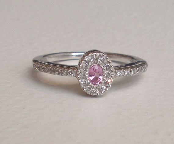 Diamond Pink Sapphire 14k Gold Engagement Ring - Diamond Halo Ring