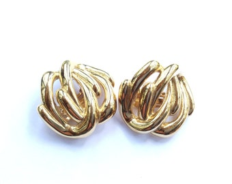 Givenchy Gold Modernist Earrings Designer Couture Mad Men Retro Jewelry