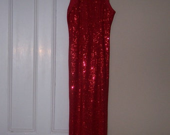 Vintage 1980's ALL THAT JAZZ Red Sequin Hourglass Back Slit Sleeveless Party Dress