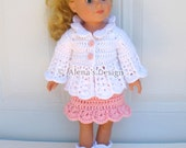 Crochet Pattern 3 PC Set for 18 in Doll - Crochet Patterns Pink and White Jacket, Skirt and Boots for American Girl 18 inch Dolls Outfit  AG