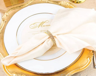 20pcs Gold Napkin Ring Rhinestone Stretch Loop Wedding Rings Bulk Wholesale