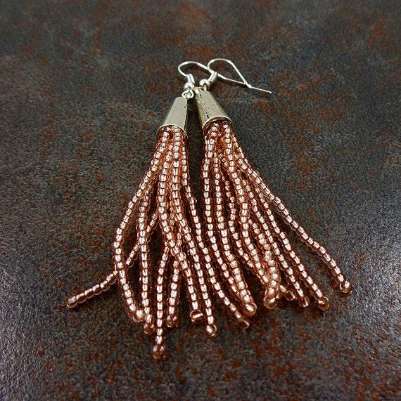 statement earrings beaded tassel earrings seed by