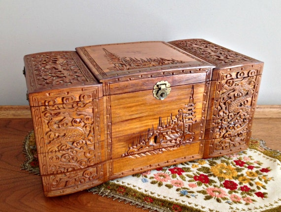 Vintage Large Wood Jewelry Box Handcarved Asian Jewelry